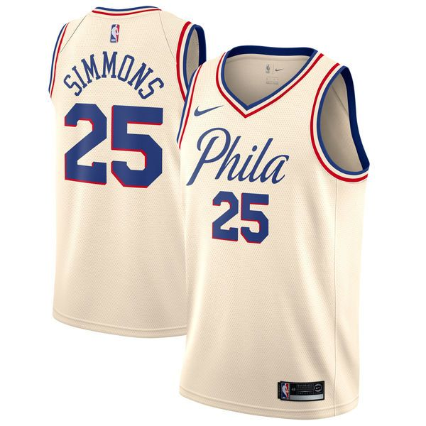 b0785801c Nike 76ers  25 Ben Simmons Cream NBA Swingman City Edition Jersey ...
