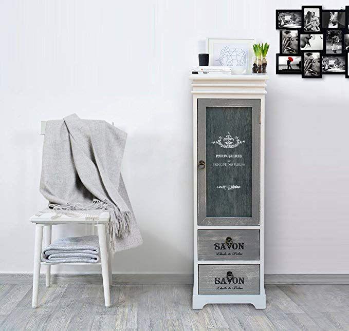 Mobili Rebecca Holzvitrine 1 Tür 2 Schubladen Retro Design Weiß …
