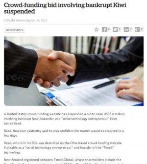 Crowd-funding bid involving bankrupt Kiwi suspended