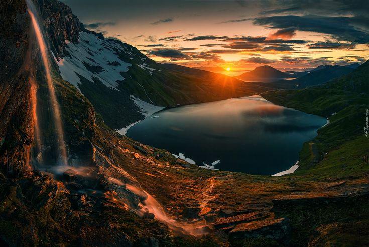 Północna Norwegia, Jezioro, Góry, Zachód Słońca