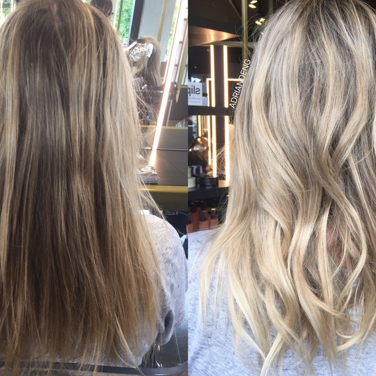 Blonde hair before and after