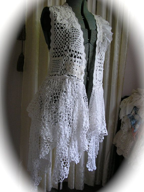 Whimsical Shabby Clothing, romantic white cotton vest coat / designed and handmade by TatteredDelicates / Medium Large