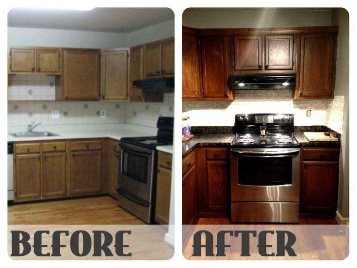upgrade kitchen accessories by restaining kitchen cabinets