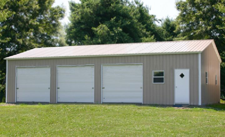 This 3-car garage steel building kit price includes three garage doors, walkdoor, delivery and installation. Eversafe metal garages in Florida meet the hurricane wind loads and can easily be designed for heavy snow areas.