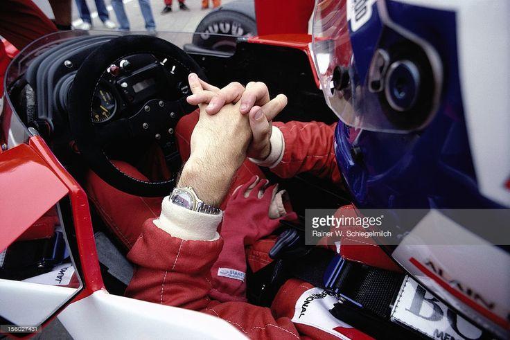 Alain Prost sits waiting in his McLaren-TAG Porsche cockpit, British Grand Prix, Brands Hatch 1986, Brands Hatch, United Kingdom, 13 July 1986.