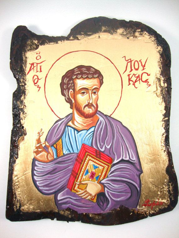 Evangelist Saint Luke - Αγιος Λουκας - Original Handmade Byzantine Style Religious Greek Icon On Wood FREE SHIPPING on Etsy, 75,00 €