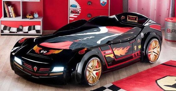 Cama coche negro de carreras