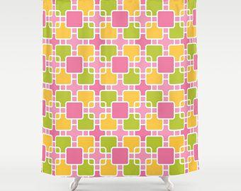 Check out Modern Shower Curtain, Retro Shower Curtain, Pink Shower, Squares shower, orange, green, contemporary shower, mod decor, 50s shower, Eloise on peppermintcreek
