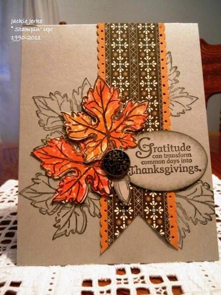 handmade Thanksgiving card by JJ Rubberduck  ... kraft base ... folkloric look patterned paper banner ... watercolor look maple leaves ... great sentiment ... great card!! .... Stampin' Up!