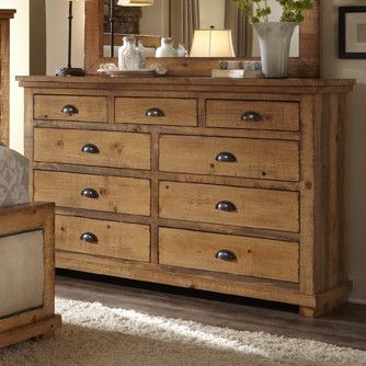 Features: -Frame material: Wood. -Distressed finish. -Castagnier Collection. Frame Material: -Wood. Product Type: -Standard dresser (horizontal). Distressed: -Yes. Solid Wood Construction: -Yes