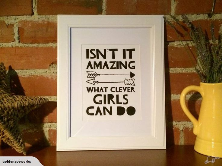 "Pimp your kid's walls with some sweet artwork. ""Isn't It Amazing What Clever Girls Can Do"" Quote Wall Art Print Trademe NZ SHE ACED IT LIMITED trading as Golden Ace Works."