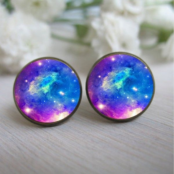 Galaxy Earring, Space Jewelry Galaxy Earings, Galaxy Stud Earrings,... ❤ liked on Polyvore featuring jewelry, earrings, accessories, aros, post earrings, glass jewelry, studded jewelry, cosmic jewelry and red earrings