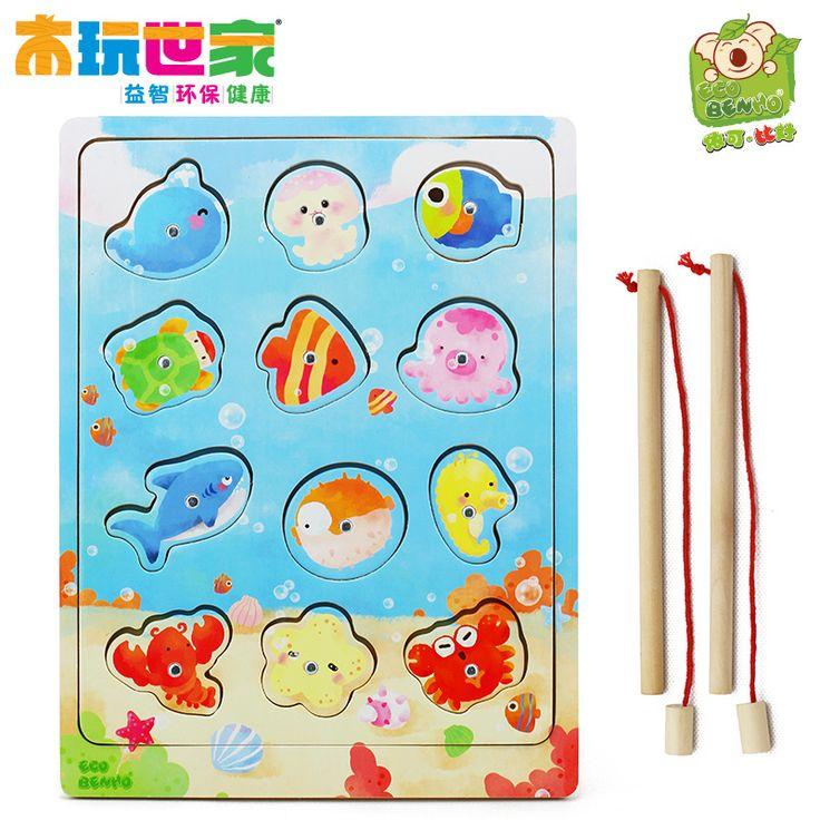 Морские магнитные деревянные семейные игры деревянные игрушки головоломки для детей рыбалка игры веселых игр .3- Taobao