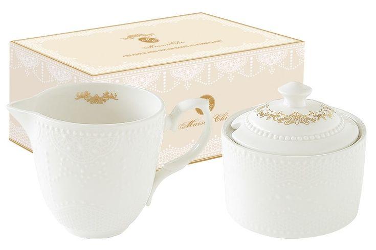 Набор: сахарница и молочник из фарфора «Белое кружево»      Бренд: Easy Life (Nuova R2S) (Италия);   Страна производства: Китай;   Материал: фарфор;   Объем молочника: 250 мл;   Объем сахарницы: 250 мл;          #tea #porcelain #фарфор #посуда #чай