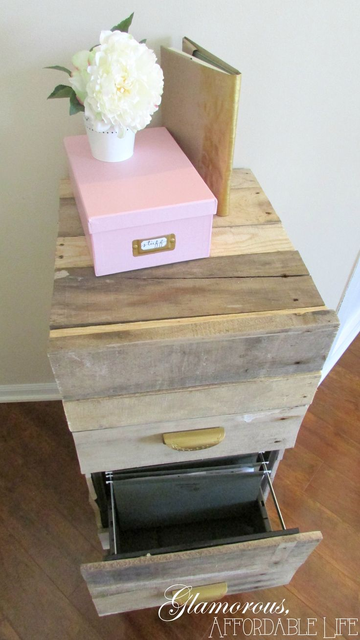 Rustic chic filing cabinet makeover