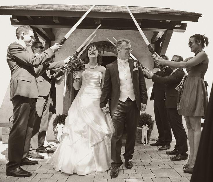 by JenzFlare People- und Hochzeitsfotograf Saarbrücken, Germany #wedding #bride #veil #dress #tuxedo #witness  #ring #starwars #lightsaber #guardofhonor #jedi