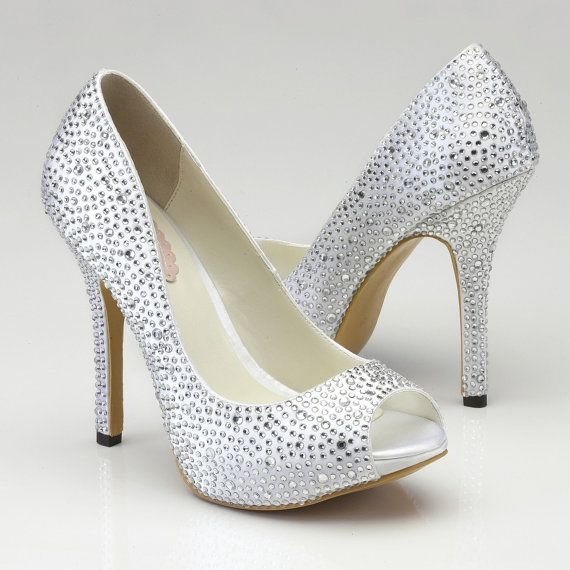 Crystal Wedding Shoes- High Heels op Etsy, 89,72€