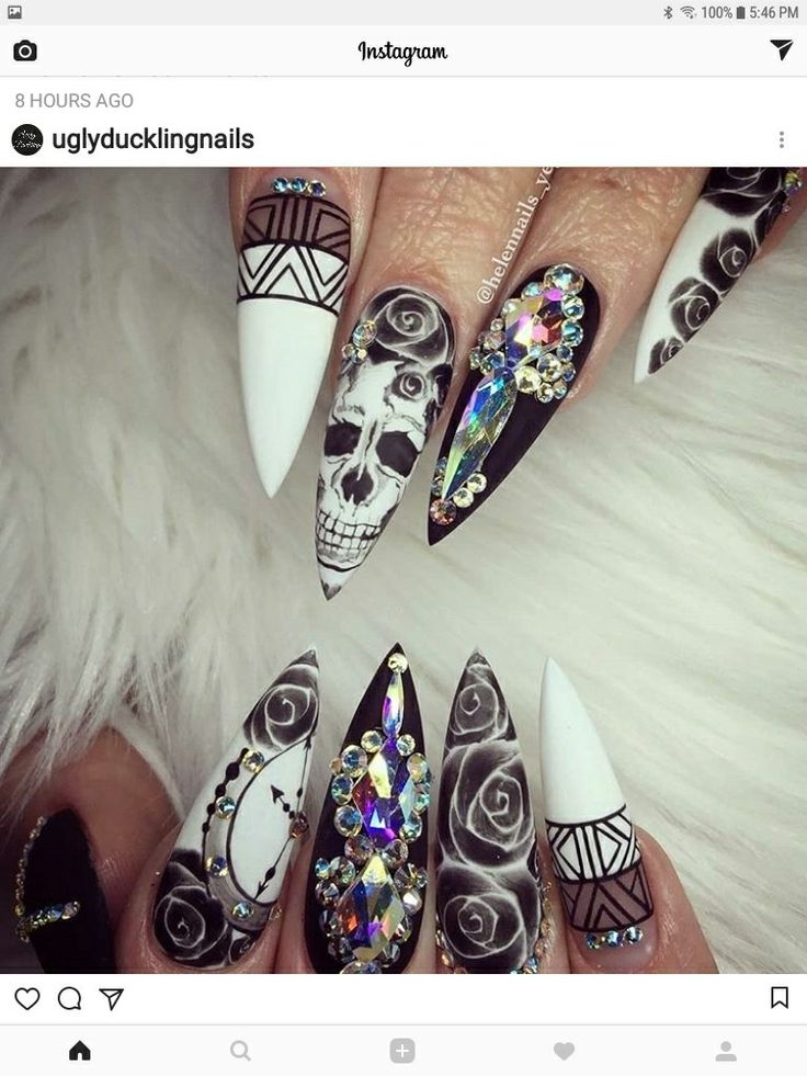 I only like the flowers and white nails. I'm not a skull person