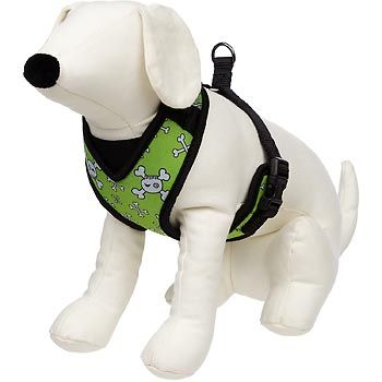 Petco Adjustable Mesh Harness for Dogs in Green with Skull & Crossbones Print