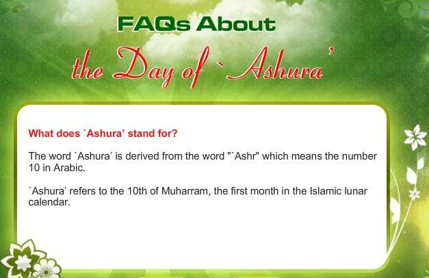 "#Jumma Mubarak everybody, ""ASHURA"", which literally means the ""Tenth"" in Arabic, refers to the tenth day of Muharram. Sunni Muslims fast on this day thanking Allah (subhanahu wa taala), the sea was divided as the nation of israel was delivered from captivity & Pharoah's army was destroyed.  Shia Muslims mourn as Husain (Radiyallahu 'anh) The Holy Prophet's, grandson achieved the honor of Martyrdom."