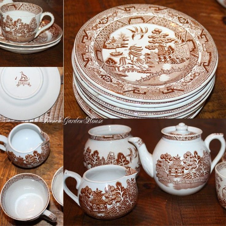 Brown Willow Pattern Plates And Dishes Pinterest