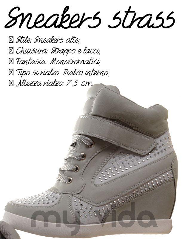 Sneakers donna con rialzo interno e chiusura con strappi e lacci con strass adatte per qualsiasi situazione Comodi strappi stile anni '90 per calzature cult che affascinano ogni stagione nelle nuove variazioni cromatiche #style #shoes #news #fashion #shoes #LOVE #Wedge #streetstyle