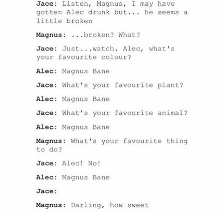"""Magnus bane"" seems to enjoy this Alec is so cute"