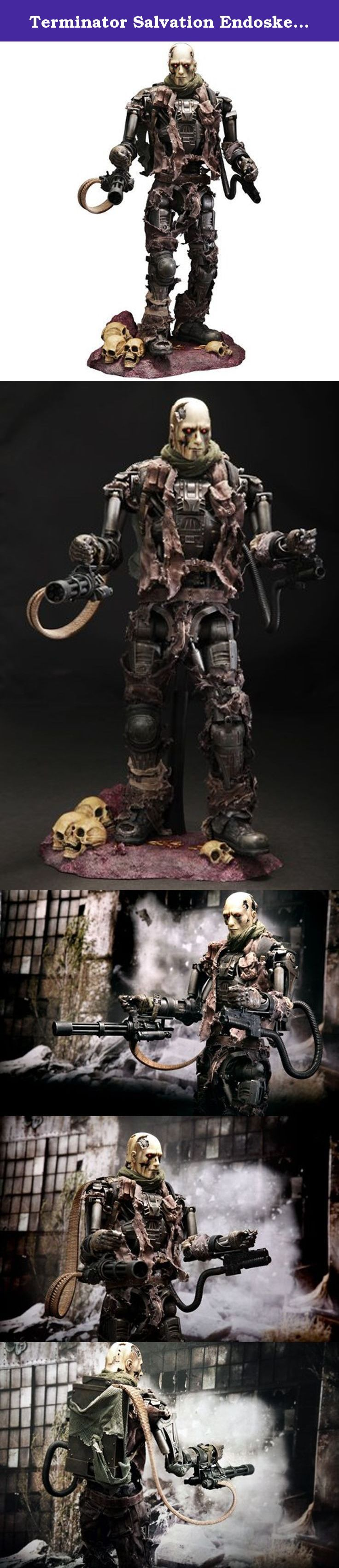 """Terminator Salvation Endoskeleton T-600 Weathered Rubber Skin Version By Hot Toys. The """"movie masterpiece"""" series of hot toys. Movable 40 places or more including the finger of both hands; do it! And I reproduce an image of the in a play by the light up function of the eyes which shine red which can be called the characteristic of a pedestal and the terminator reflecting the image of a terminator factory wonderfully!."""