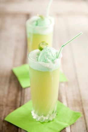 this is one of my favorite punch recipes, it's from paula deen: lime sherbet, ginger ale and pineapple juice