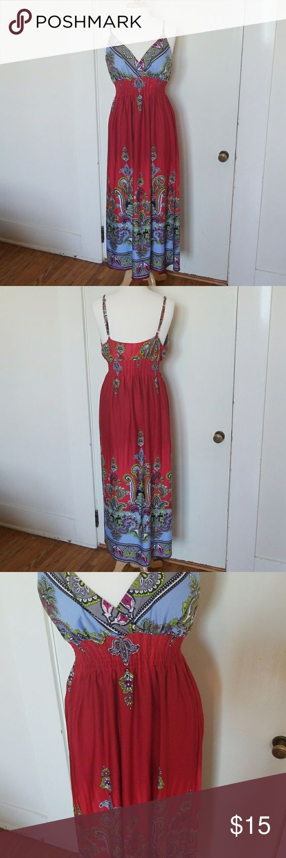 🖤1hr Sale🖤Paisley Print Maxi Dress Deep blood red color fades to baby blue with paisley print!! Stunning on!! Soft and Stretchy!! Adjustable straps, empire waist, lightly lined bust, and in good used condition!! She's Cool Dresses Maxi