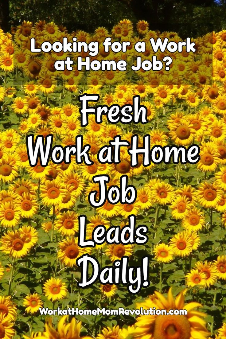 Looking for a work at home job? Fresh work from home job leads posted daily on Work at Home Mom Revolution. Awesome home-based opportunity! You can make money from home!.