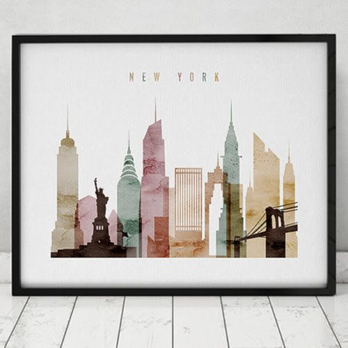 New York watercolor print, by artprintsvicky via etsy.