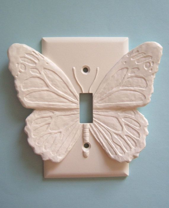 White Butterfly Decor LIght Switch Plate wall cover toggle