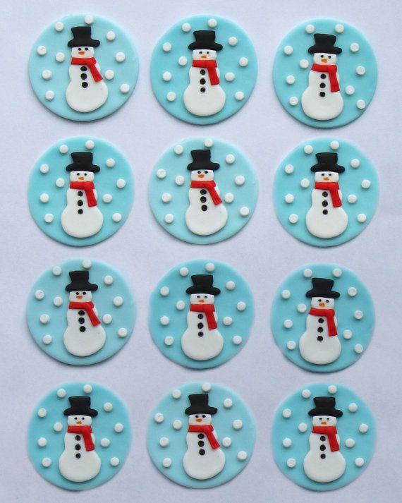 Fondant Cupcake Toppers muñecos de nieve por TopItCupcakes en Etsy