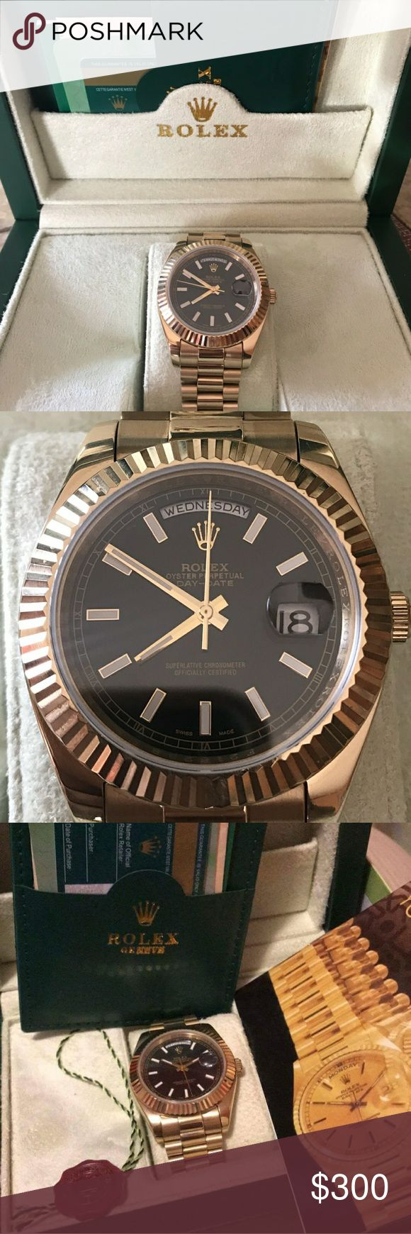 Rolex day date Rolex Day Date:  -High quality rep -Heavy Stainless Steel -Real 18k gold -Proper Magnification on Cyclops -Etching of Crown at 6 -GLIDES -Comes with Box and Papers  To purchase please contact me at: (520) 357-1398  I can get just about any rep watch  Watches I can get: AP, Breitling, Omega, Rolex, Tudor, Patek Philippe, Cartier, Hublot and more!!! Rolex Accessories Watches