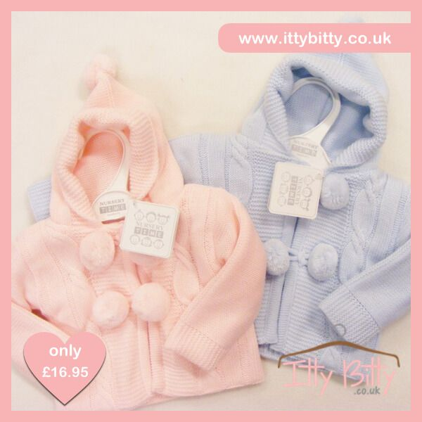 Itty Bitty Hooded Cable Pom Pom Knitted Jacket - Baby Boutique Shop #babyboutique