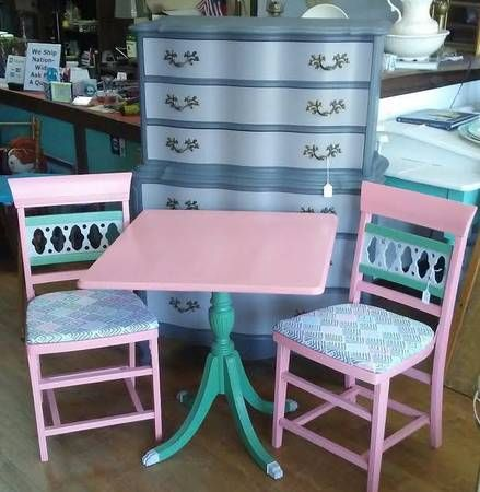Antique breakfast table with wood folding chairs upholstered in a fun color  coordinated fabric. Table top tilts up - 95 Best Vintage Shopping In Cleveland Images On Pinterest