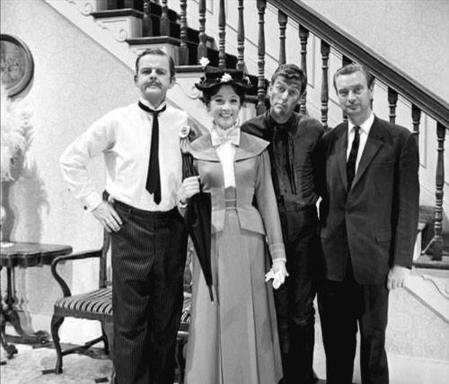 "David Tomlinson (Mr. Banks), Julie Andrews (Mary Poppins), Bert (Dick Van Dyke.) on set of Walt Disney movie, Academy Award Winner, ""Mary Poppins.""."