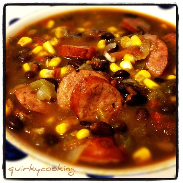 Mexican Black Bean & Chorizo Soup - Quirky Cooking