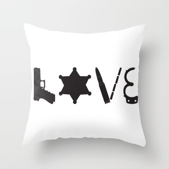 Love Deputy Sheriff police officer pride gun ammo bullets badge handcuff support thin blue line pillow