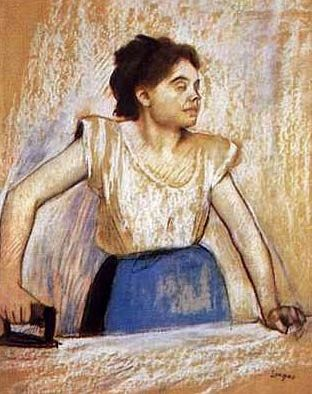 Girl at Ironing Board, by Edgar Degas (French, 1834–1917).