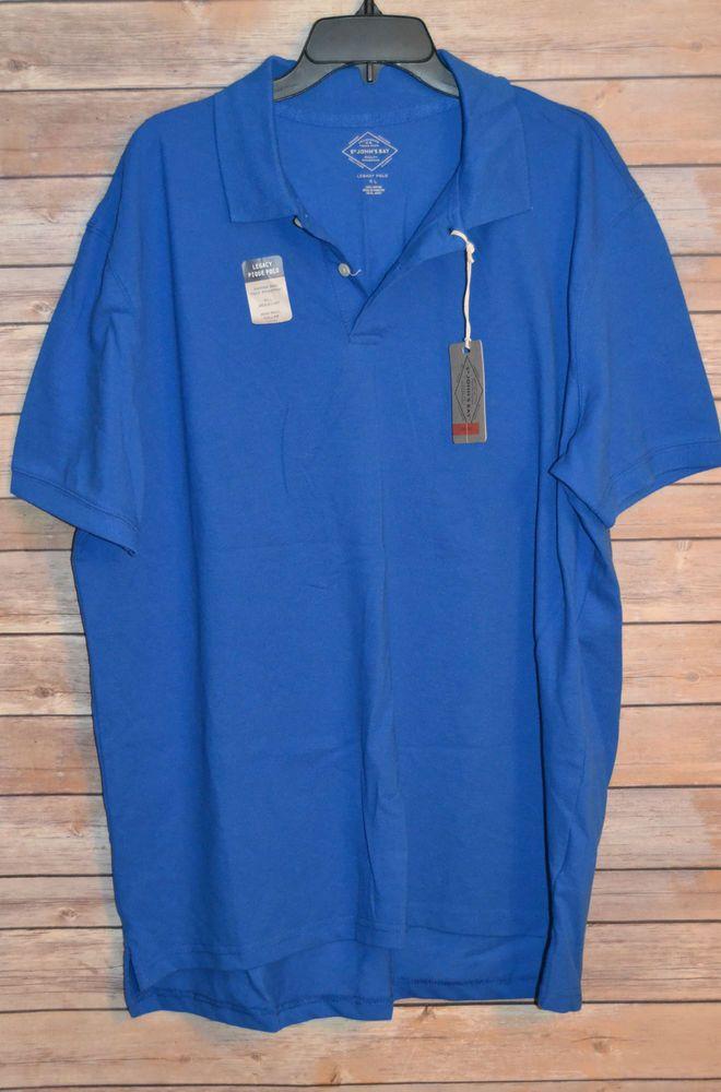 MENS XL LEGACY SHORT SLEEVE POLO GOLF SHIRT BLUE 2 BUTTON TENNIS TAIL NWT #StJohnsBay #PoloRugby