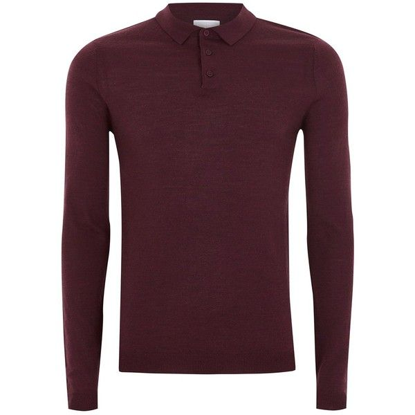 TOPMAN Burgundy Muscle Fit Merino Knitted Polo (800 MXN) ❤ liked on Polyvore featuring men's fashion, men's clothing, men's shirts, men's polos, red, mens fitted shirts, mens long sleeve polo shirts, mens longsleeve shirts, long sleeve men's polo and mens burgundy polo shirt