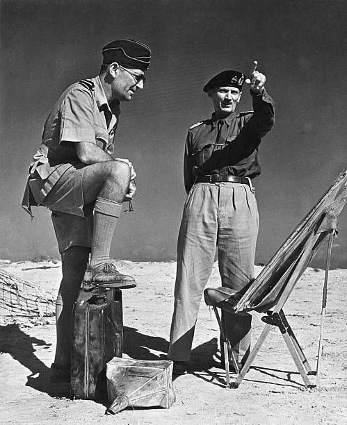 His foot on a captured fuel can of the Afrika Korps, Air Vice Marshall Arthur Coningham, air officer commanding the western desert, makes his report to General Bernard L. Montgomery, whose men have chased Marshal Rommel and his axis minions clear and across Libya from Egypt. Latest reports indicate a battle is brewing between the British Eighth Army and the remnants of the Afrika Korps at El Agheila. Pin by Paolo Marzioli