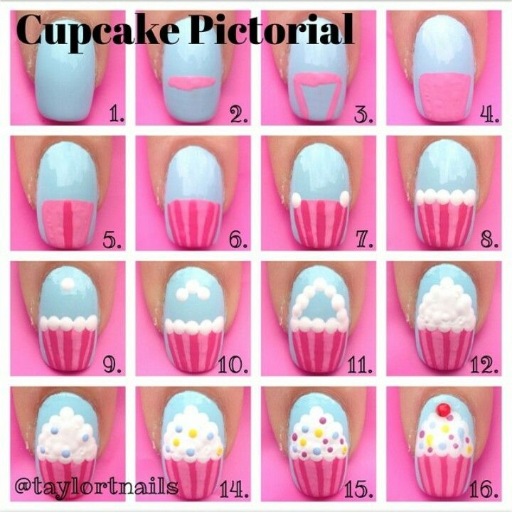 Cupcake nail art tutorial / pictorial How to https://www.facebook.com/shorthaircutstyles/posts/1760246864265753