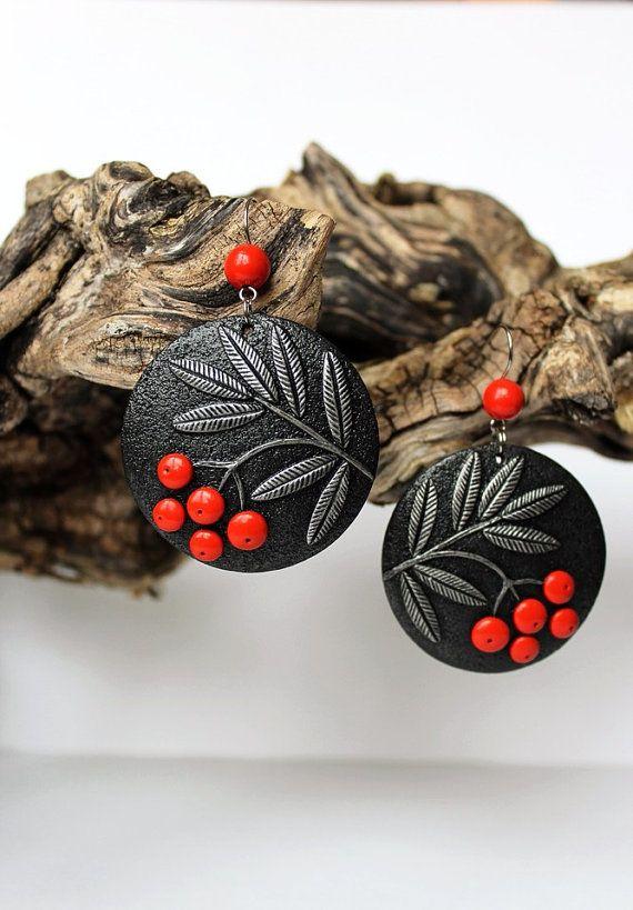 polymer clay earringsRowanpolymer clay jewelry от WildOnionArt