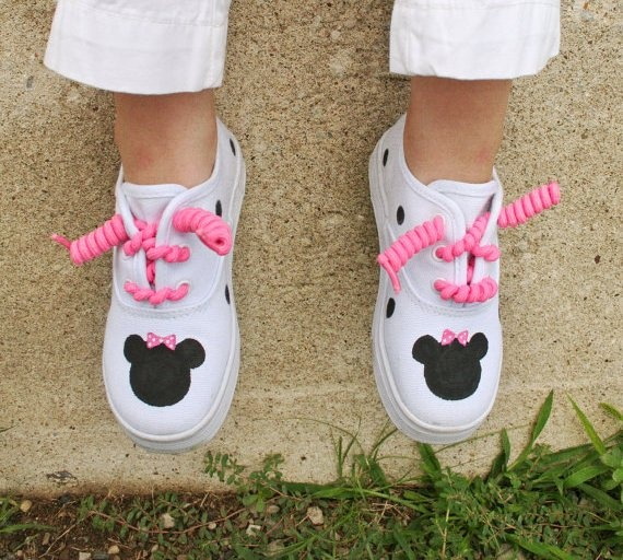White Sneakers Painted Minne Mouse Polka Dots by PoshBabyStore.com