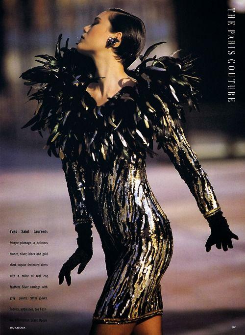 'The Paris Couture: Pure Glamour' ARIANE KOIZUMI & CECILIA CHANCELLOR British Vogue Editorial October 1988