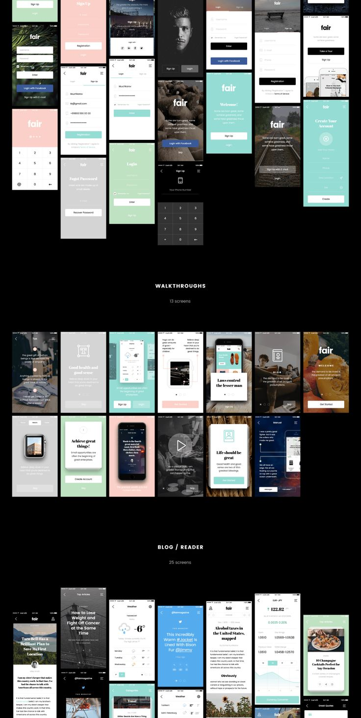 Fair Mobile UI Kit is the excellent assistant for fast creation of your project. In it excellent fonts and colors, which now in a trend are picked up. Each project which will be made by means of it will be modern and convenient in use. Product has been updated to include Photoshop & Sketch files.