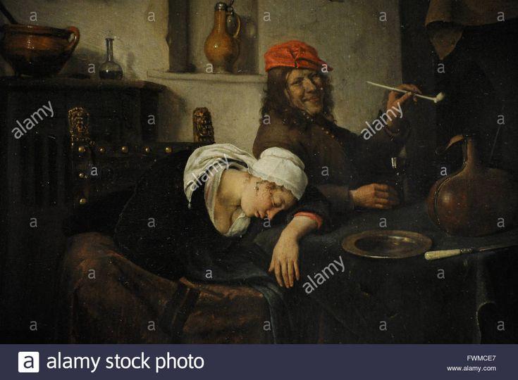 Jan Havickszoon Steen (1626-1679). Niederländischer Maler. Die Feiernden, 1660. Detail. Die Eremitage. Sankt Petersburg. Russland. Stockfoto